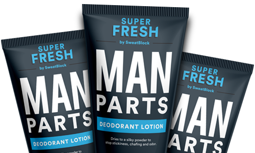 Super Fresh Man Parts Lotion for Chafing, Odor and Stickiness.